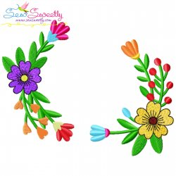 Spring Flowers Frame Embroidery Design