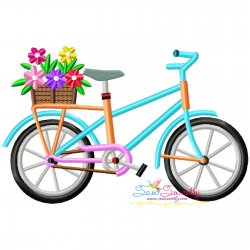 Spring Flowers Bicycle-1 Embroidery Design