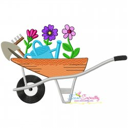 Spring Flowers Wheelbarrow-2 Embroidery Design