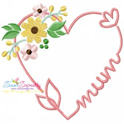 Mum Heart Floral Embroidery Design