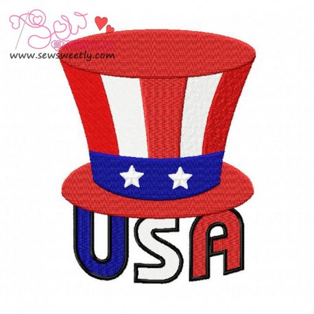 Beautiful USA 4th of July Patriotic Embroidery Design For 4th of July