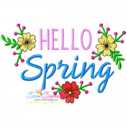 Hello Spring Flowers Frame-2 Embroidery Design