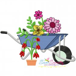 Spring Flowers Wheelbarrow-1 Embroidery Design