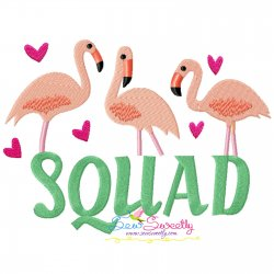 Flamingo Squad Embroidery Design Pattern- Category- Summer And Spring Season- 1