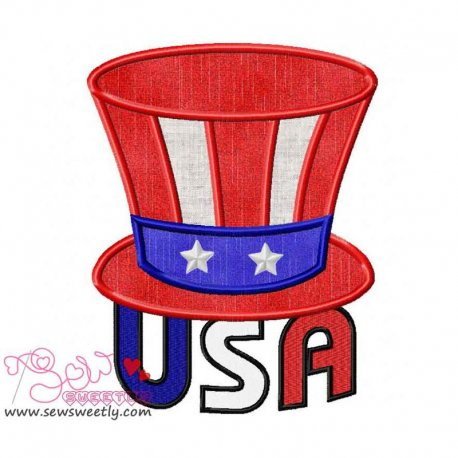 Beautiful USA Patriotic Applique Design For 4th of July