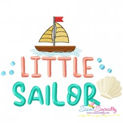 Little Sailor Summer Lettering Embroidery Design