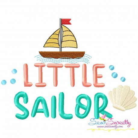 Little Sailor Summer Lettering Embroidery Design Pattern- Category- Summer And Spring Season- 1
