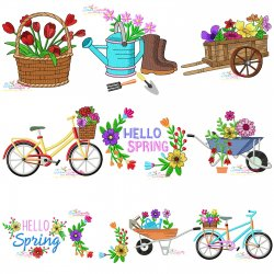 Spring Embroidery Design Bundle