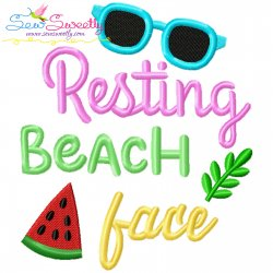 Resting Beach Face Summer Lettering Embroidery Design