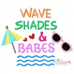 Wave Shades And Babes Summer Lettering Embroidery Design