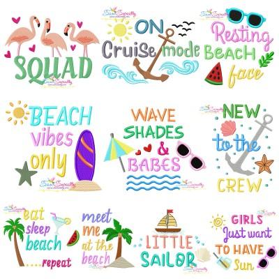 Summer Lettering Embroidery Design Bundle Pattern- Category- Embroidery Design Bundles- 1