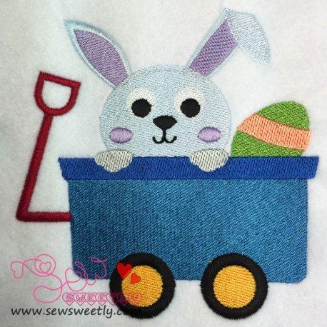 Cute Bunny In Wagon Embroidery Design