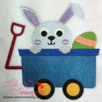 Bunny In Wagon Embroidery Design