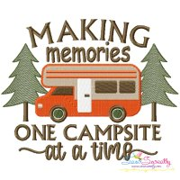 Making Memories One Campsite at a Time Camping Lettering Embroidery Design