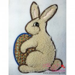 Easter Bunny With Egg Applique Design