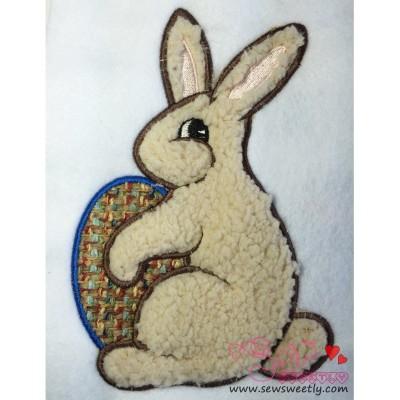 Easter Bunny With Egg Applique Design