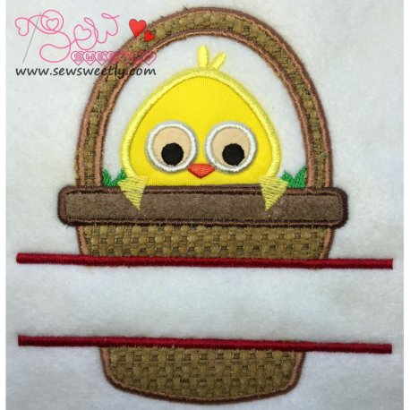Cute Chick In Basket Split Applique Design For Easter And Kids