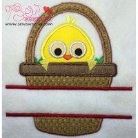 Chick In Basket Split Applique Design