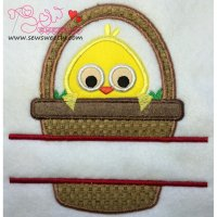 Chick In Basket Split Applique Design