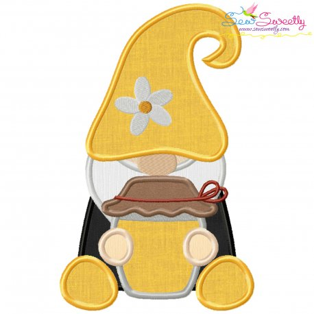 Gnome Honey Pot Applique Design Pattern- Category- Fantasy And Fairy Tales- 1