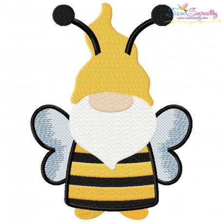 Bee Gnome Embroidery Design