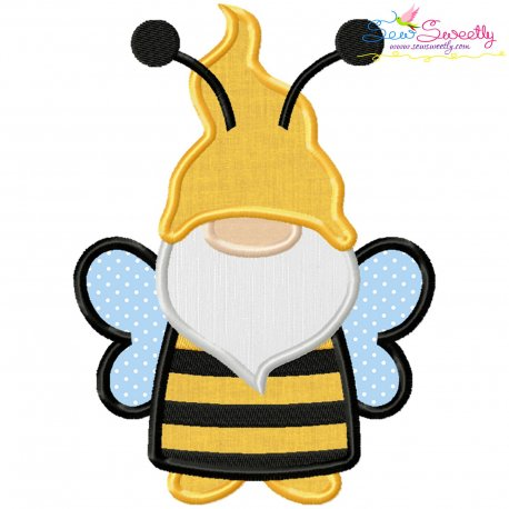Bee Gnome Applique Design