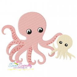Mom And Baby Octopus Embroidery Design
