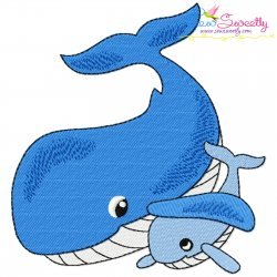 Mom And Baby Whale Embroidery Design