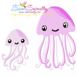 Mom And Baby Jellyfish Embroidery Design Pattern- Category- Mother's Day/Father's Day- 1