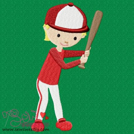 Baseball Player Embroidery Design Pattern- Category- Sports Designs- 1
