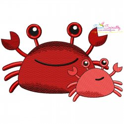 Mom And Baby Crab Embroidery Design