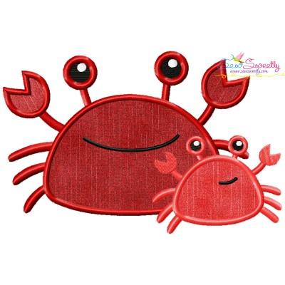 Mom And Baby Crab Applique Design