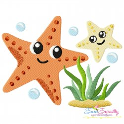 Mom And Baby Starfish Embroidery Design Pattern- Category- Mother's Day/Father's Day- 1