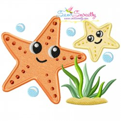 Mom And Baby Starfish Applique Design- Category- Mother's Day/Father's Day- 1
