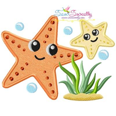 Mom And Baby Starfish Applique Design
