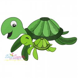 Mom And Baby Turtle Embroidery Design