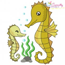 Mom And Baby Seahorse Embroidery Design