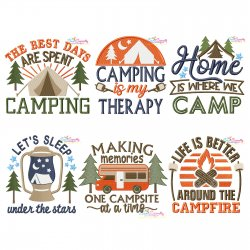 Camping Lettering Embroidery Design Bundle-2 Pattern- Category- Embroidery Design Bundles- 1