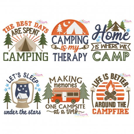 Camping Lettering Embroidery Design Bundle-2