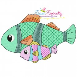 Mom And Baby Clownfish Embroidery Design Pattern- Category- Mother's Day/Father's Day- 1