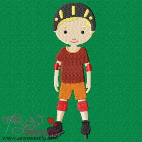 Boy With Skates Embroidery Design For Sports Event