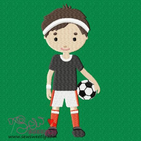 Boy With Soccer Ball Embroidery Design For Sports Event