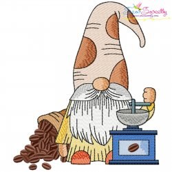 Gnome With Coffee-3 Embroidery Design Pattern- Category- Kitchen and Food Designs- 1