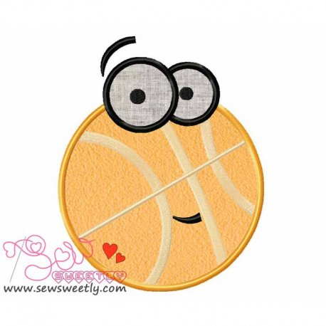 Cartoon Basketball Applique Design For Sports Event