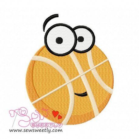 Cartoon Basketball Embroidery Design For Sports Event