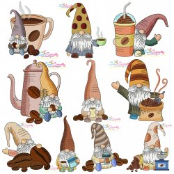 Gnomes With Coffee Embroidery Design Bundle Pattern- Category- Embroidery Design Bundles- 1