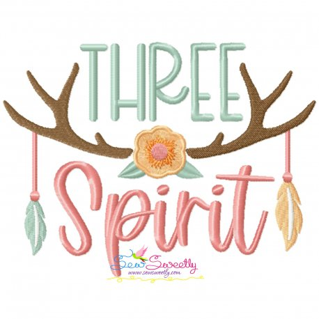 Three Spirit Antlers 3rd Birthday Embroidery Design Pattern- Category- Birthday And Occasions- 1