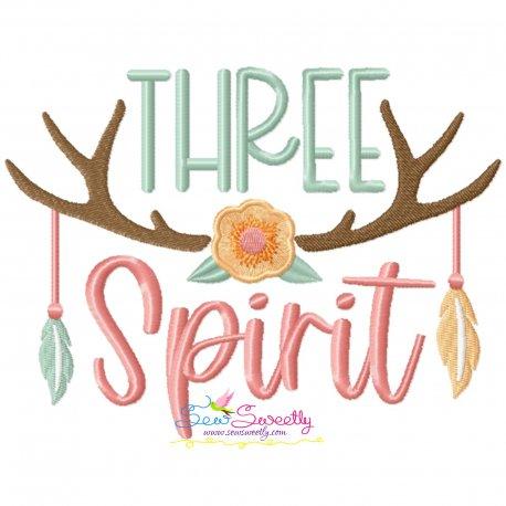 Three Spirit Antlers 3rd Birthday Embroidery Design