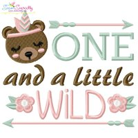 One And a Little Wild 1st Birthday Embroidery Design