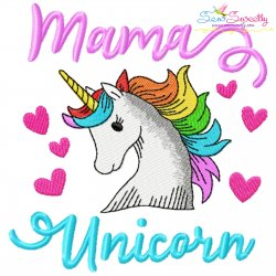 Mama Unicorn Lettering Embroidery Design Pattern- Category- Mother's Day/Father's Day- 1
